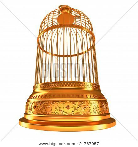 Wide-angle Bottom View Of Golden Birdcage
