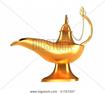 Closeup Of Genie Golden Lamp