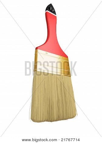 Housework: Red Paintbrush Isolated