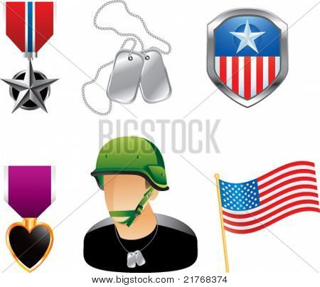 Military medals, pins, dog tags, soldier, and american flag on white background