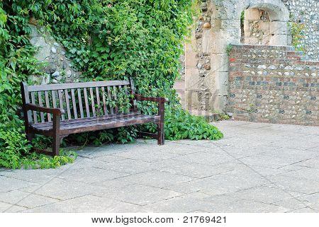 bench with ivy