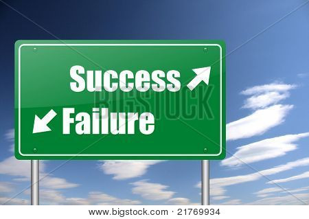 success - failure green road sign