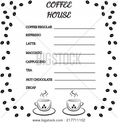 Coffee Shop House Template Doodle Line Design Coffee Menu Placemat Food Restaurant Brochure Vintage Creative Template Coffee Menu Mock Up Flyer
