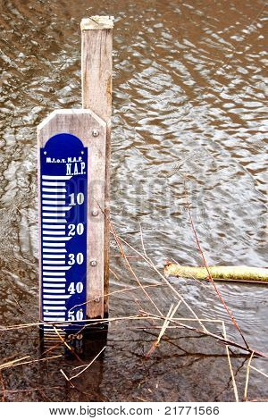 Water Height Scale In Brownish Water