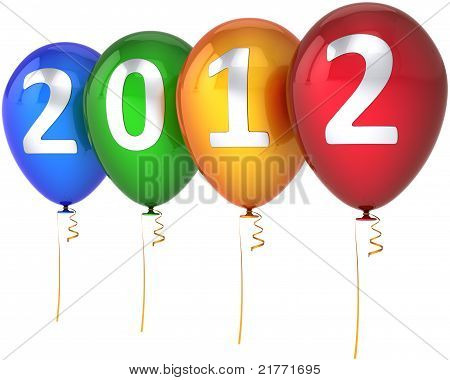 Neujahr 2012 silberne Ballons mit mehrfarbigen text