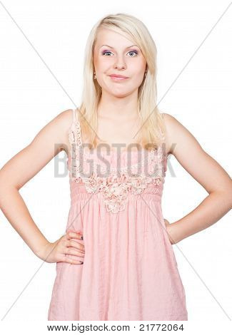 Sneering Young Beautiful Blonde Girl