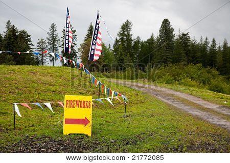 Banners e sinal de fogos de artifício