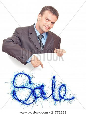 Young Businessman Points His Finger