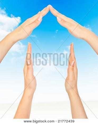 Konzept-Symbol-Startseite von Hand gemacht