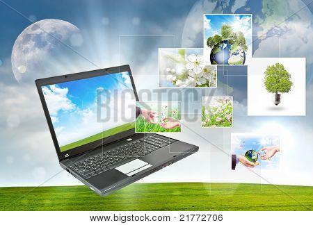 Laptop Grün Natur Hintergrund