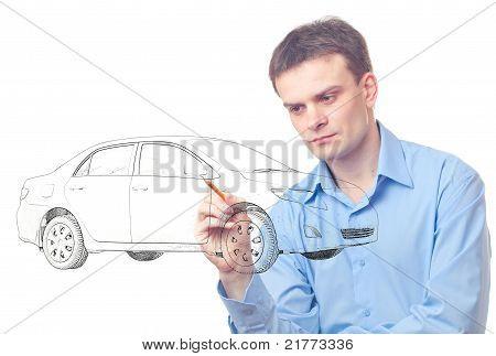 Men Drawing Car