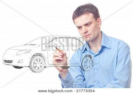 Men Drawing A Car.
