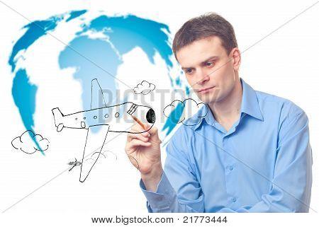 Businessman Drawing Plane