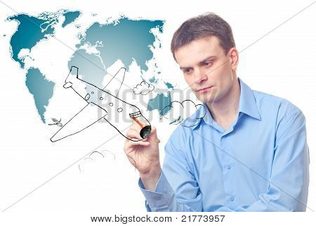 Businessman Drawing Plane