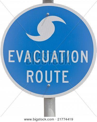 Señal de ruta de evacuación de huracán