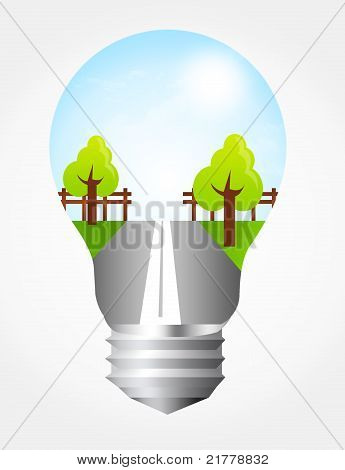 Electric Bulb With Landscape