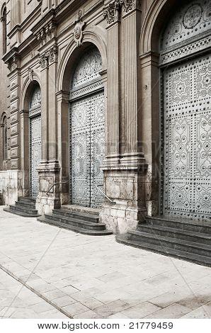 Antique architecture: Medieval european church's door