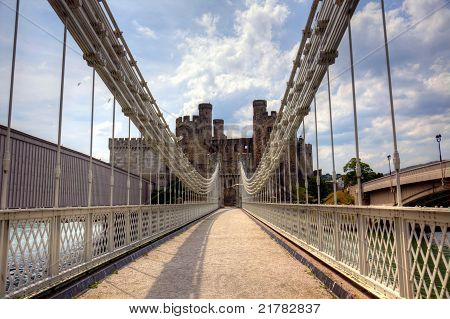 Suspension bridge and castle