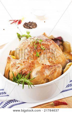 Golden Chicken In Baking Dish.