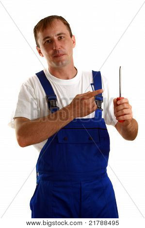 Craftsmen Is Holding A Screwdriver In His Hand