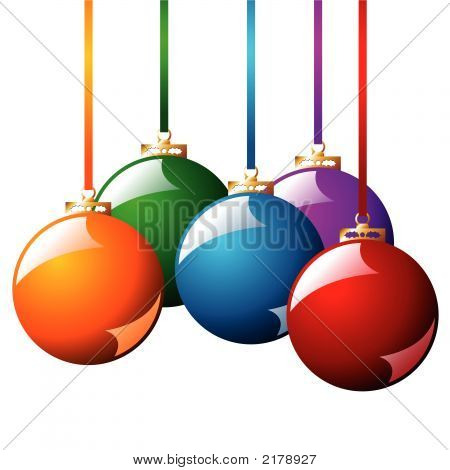 Christmas Balls With Ribbons
