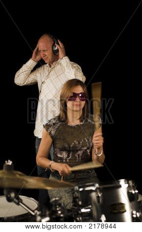 Woman Drummer Playing