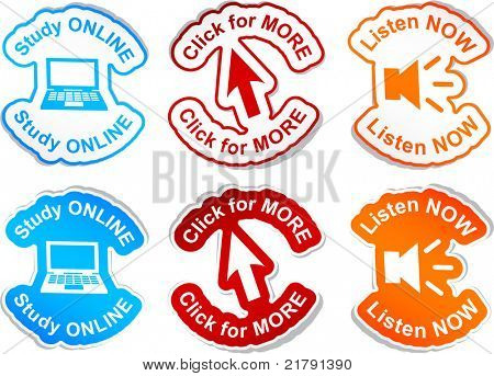 """""""Study online"""", """"click for more"""", """"listen now""""  vector stickers."""