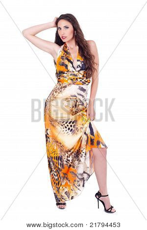 Young Fashion Model Isolated On White