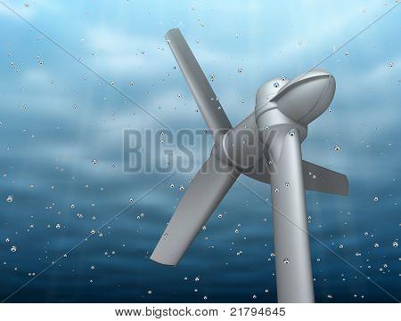 Underwater turbine tap river energy