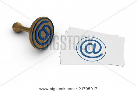 E-mail Stamp And Letters. Isolated On The White Background