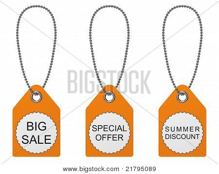 Set Of Three Sale Tags. Isolated On The White Background