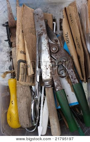 Tools found in tray in greenhouse