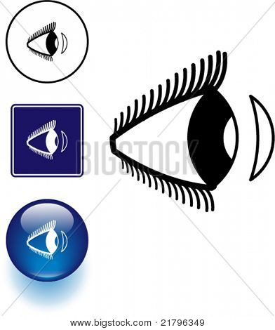contact lens and eye symbol sign and button