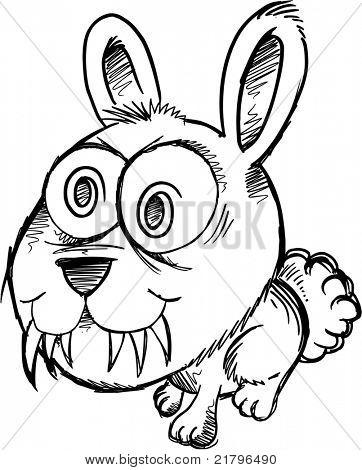 Sketch Doodle Crazy Insane Bunny Rabbit