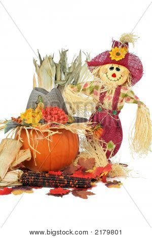 Scarecrow And Pumpkin With Hat
