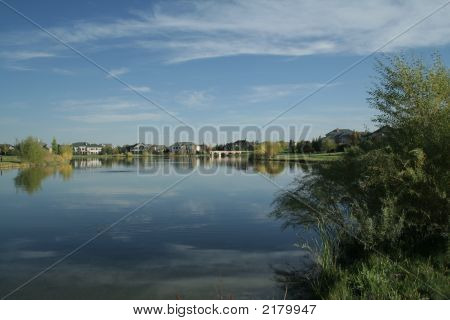 Autumn Lake And Homes