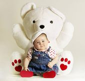 picture of french beret  - baby and white teddy - JPG