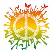 picture of peace-sign  - abstract artistic hippie peace symbol vector illustration - JPG