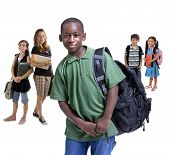 stock photo of school child  - Young kids are ready for school - JPG