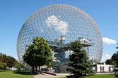 stock photo of geodesic  - The geodesic dome called Biosphere is a museum in Montreal dedicated to water and the environment - JPG