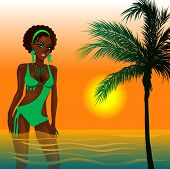 stock photo of monokini  - Vector Illustration of a Green Swimsuit Girl in water at beach during sunset or sunrise - JPG