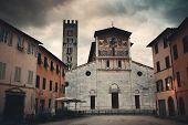 The Church of San Pietro Somaldi and Campanile with bell tower in Lucca Italy poster