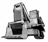 stock photo of jcb  - Perspective illustration of a digger in black and white - JPG