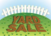 image of yard sale  - Yard sale sign in the backyard of the house - JPG