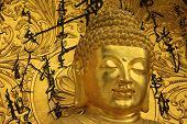 stock photo of darjeeling  - close up of golden buddha sculpture at shanti stupa in darjeeling - JPG