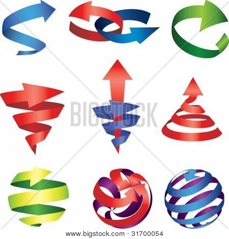 vector illustration of colorful arrows set