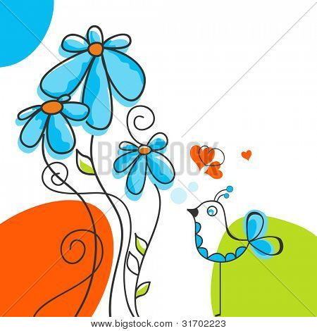 Bird and flowers love story