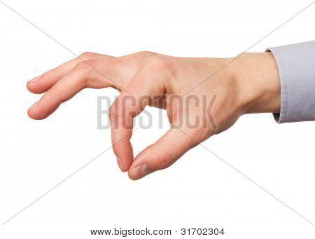 Closeup imagen de mano masculina con el dedo índice y pulgar juntos. Aislado sobre fondo blanco