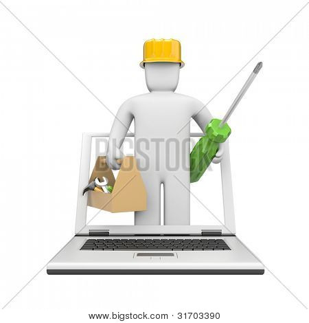 Repairman for you notebook. Image contain clipping path