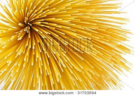 Uncooked pasta  spaghetti macaroni isolated on white background